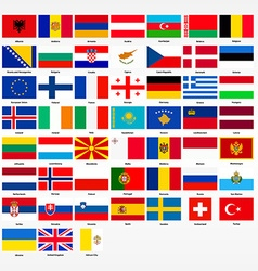 Set of flags of all countries of europe vector