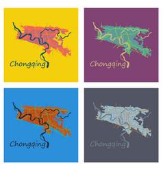 Set of flat chongqing city map simple flat vector