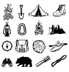 set of hiking tourism icons design elements for vector image vector image