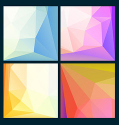 set of low poly bright backgrounds vector image