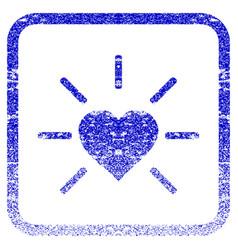 Shiny love heart framed textured icon vector