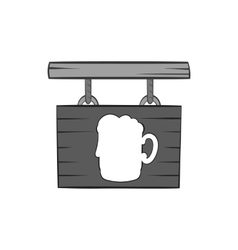 Sign beer bar icon black monochrome style vector