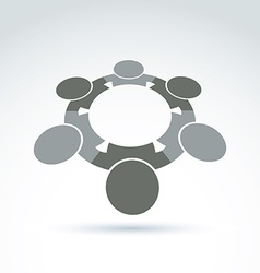silhouettes of people standing in circle vector image vector image