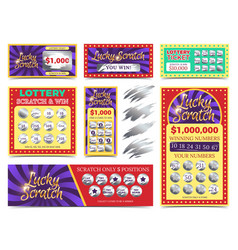 Winning lotto tickets and scratch cards set vector