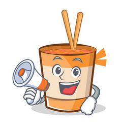 With megaphone cup noodles character cartoon vector