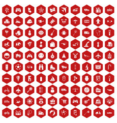 100 toys for kids icons hexagon red vector