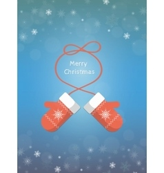 Christmas card with mittens vector image