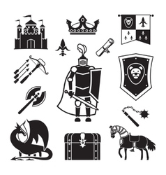 Knighthood in middle ages icons vector