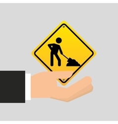 Road sign under construction design icon vector