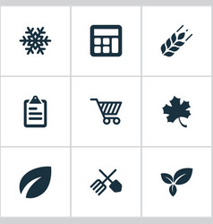 set of simple agriculture vector image