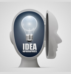lighting ideas in an open head vector image