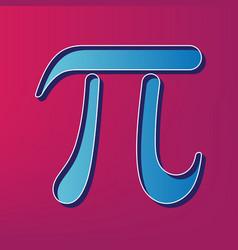 pi greek letter sign  blue 3d printed icon vector image