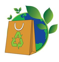 Bag of green world vector