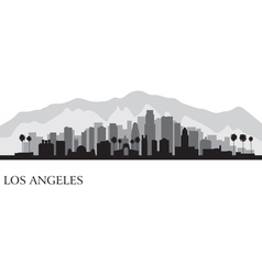 Los Angeles city skyline detailed silhouette vector image