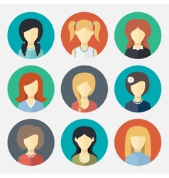 Set of girl avatar icons vector