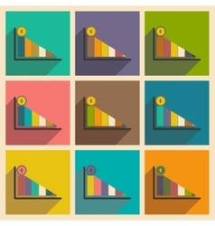 Modern collection flat icons with shadow economic vector