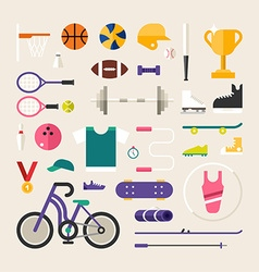 Set of icons and in flat design style sports vector