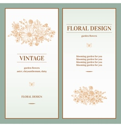 Set of invitation with a bouquet of golden flowers vector