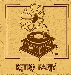 Invitation to retro party with gramophone vector
