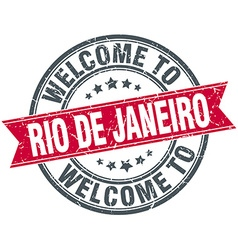 Welcome to rio de janeiro red round vintage stamp vector
