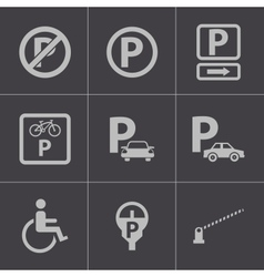 black parking icons set vector image
