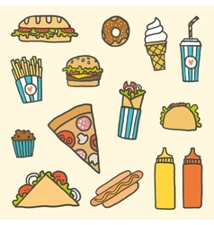 Fastfood cartoon set vector