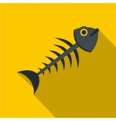 Fish bone icon flat style vector