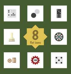 Flat icon games set of chequer lottery pawn and vector