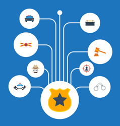 Flat icons inspector manacles jury and other vector