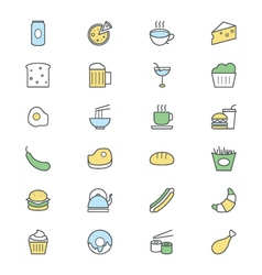 Food colored icons 3 vector
