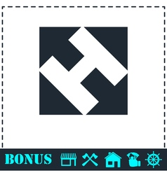 Helicopter landing pad icon flat vector