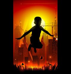 Jumping boy on background of the cityscape vector