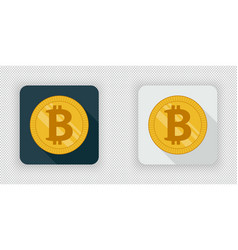 light and dark bitcoin crypto currency icon vector image