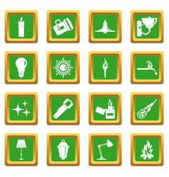 Light source symbols icons set green vector
