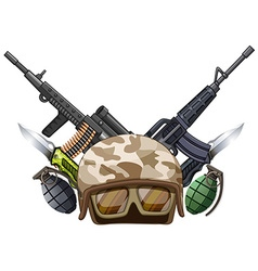 Many weapons and soldier helmet vector image