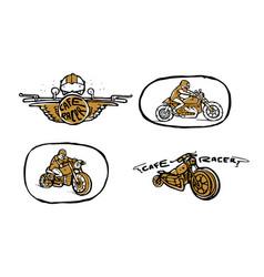 moto biker theme icon set cafe racer vector image vector image