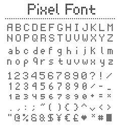 pixel square font letters numbers and punctuation vector image