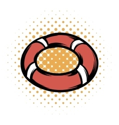 Red lifebuoy comics icon vector