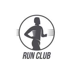Run club logo logotype template with jogging man vector