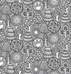 seamless pattern with hand drawn doodle trees vector image vector image