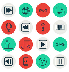 Set of 16 music icons includes mike last song vector
