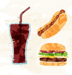 Set of fast food multicolored watercolor vector