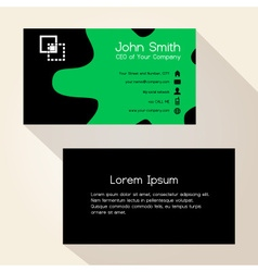 simple green spot black business card design eps10 vector image