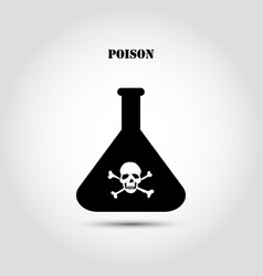 stock flat icon chemical flask with a skull and vector image