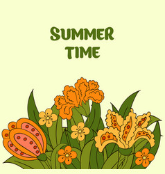 Summer postcard cover summer green orange yellow vector