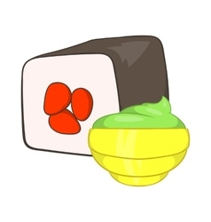 Sushi roll and wasabi icon cartoon style vector