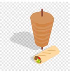 Traditional doner kebab isometric icon vector