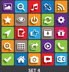 Trendy icons with shadow set 4 vector