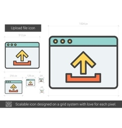 Upload file line icon vector