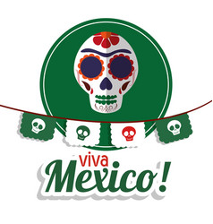viva mexico - skull festival poster vector image vector image